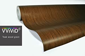 VViViD Teak Wood Grain Faux Finish Textured Vinyl Wrap Roll Sheet Film DIY No Mess Easy to Install Air-Release Adhesive (1.5ft x 48 Inch)