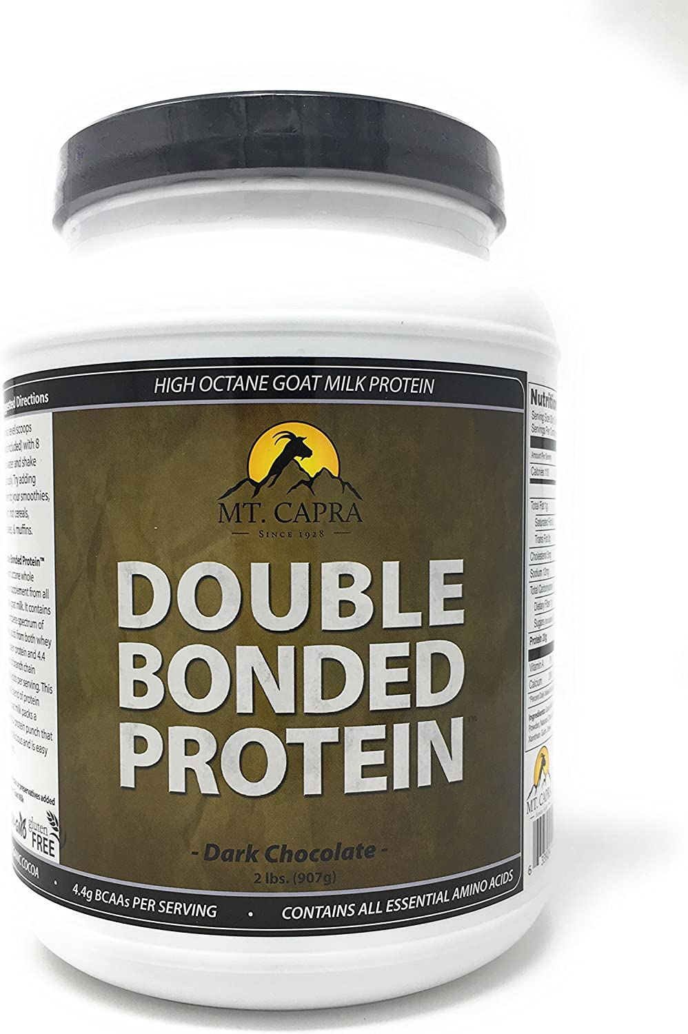 MT. CAPRA SINCE 1928 Double Bonded Protein Whole Goat Milk Protein with Natural Blend of Casein and Whey from Grass-fed Pastured Goats, Dark Chocolate Flavor – 2 Pounds
