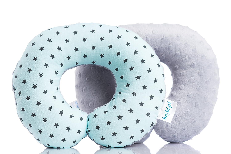 BAJBI ® | U Shaped Reisekissen / Nackenschutz für Kinder | Baumwolle / Minky | Antiallergisch | Made in EU | Erhältlich in vielen Farben und Mustern