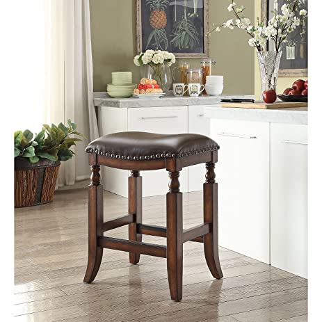 Delicieux Ashton Top Grain Leather Seat Bar Stool, Walnut Finish