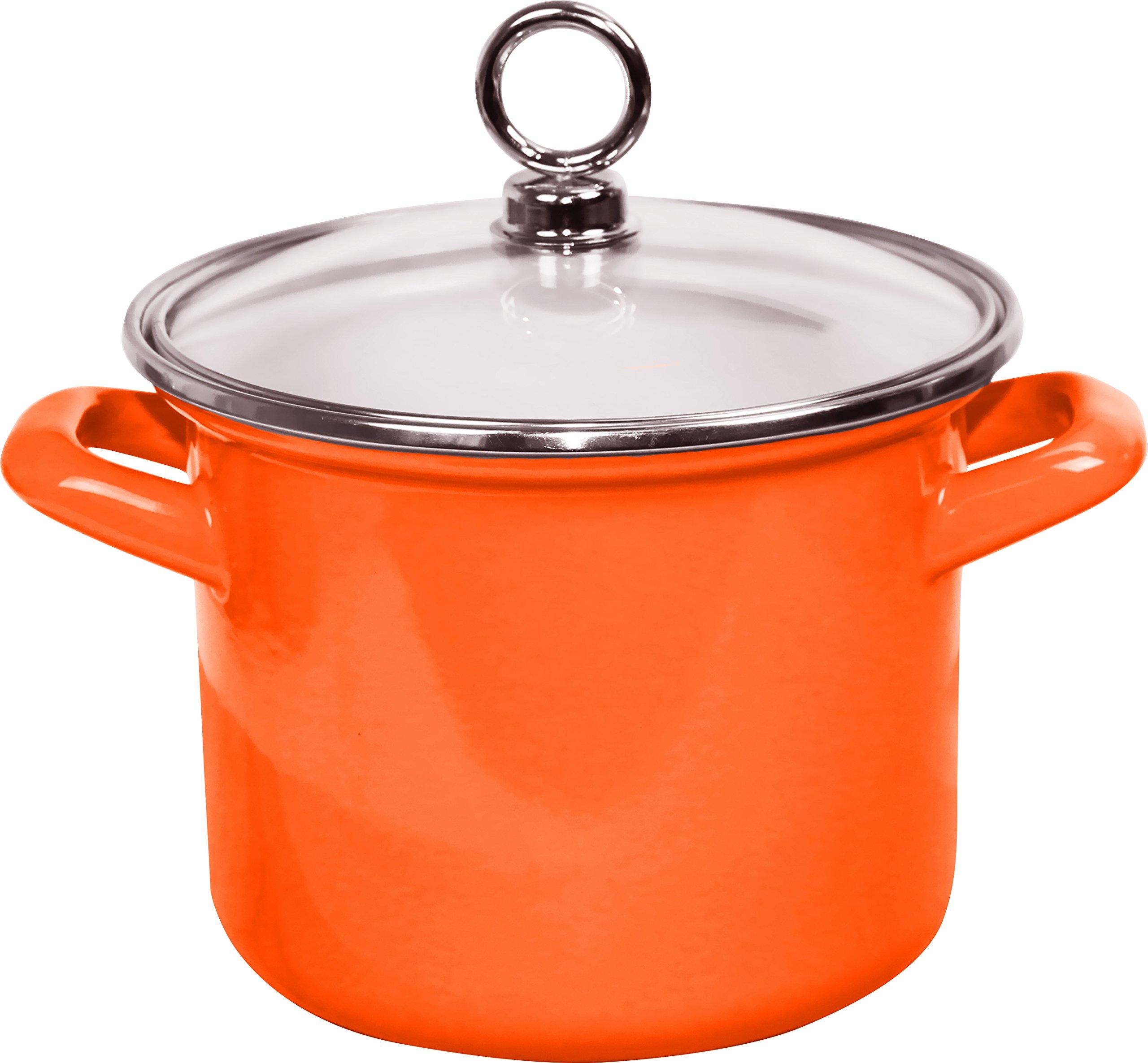 Calypso Basics by Reston Lloyd Enamel Stockpot with Glass Lid, 3.5-Quart, Orange