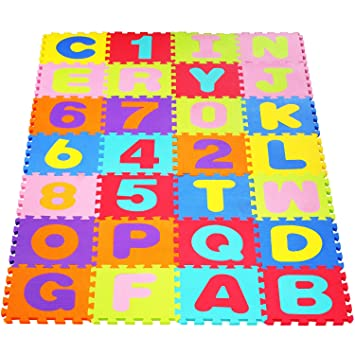 HOMFA Alfombra infantil puzzle de letras 36 Piezas Numeros 0 al 9 y 26 Letras Alfabeto Puzzle Goma Espuma EVA Infantil 32 x 32cm Certificación EN71: ...