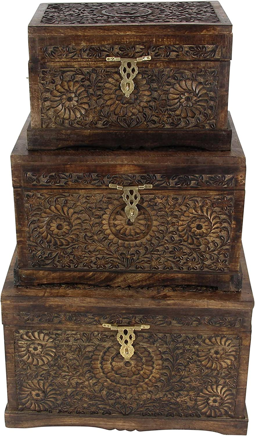 Set Of 3 Brown//Gold Deco 79 20 x 24 x 27 Wood Carved Trunk