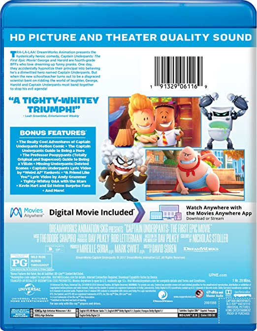 Amazon.com: Captain Underpants: The First Epic Movie [Blu ...