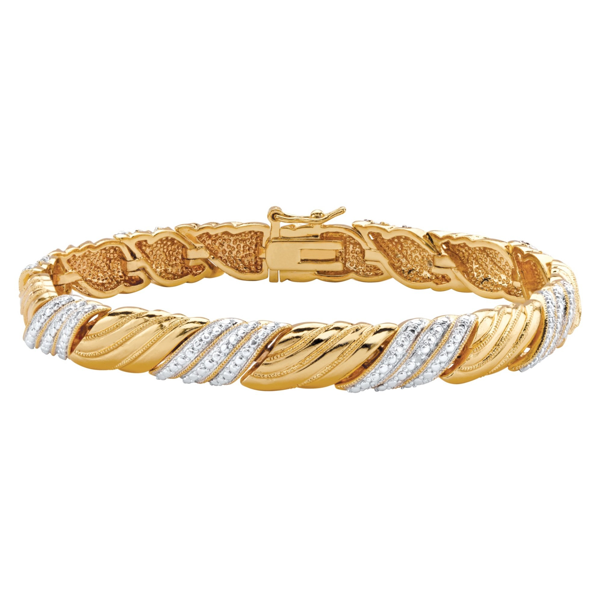 Palm Beach Jewelry White Diamond Accent Pave-Style 18k Gold-Plated Textured Two-Tone Bracelet 7.5''