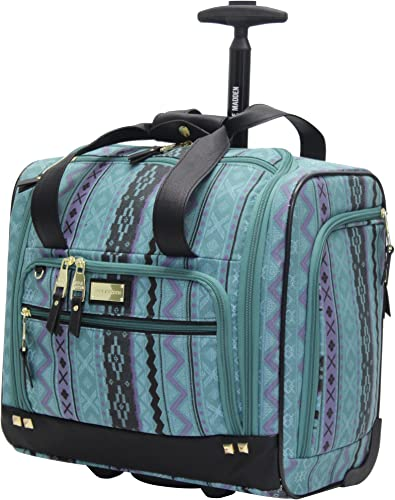 Steve Madden Designer 15 Inch Carry on Suitcase- Small Weekender Overnight Business Travel Luggage- Lightweight 2- Rolling Spinner Wheels Under Seat Bag for Women Legends Teal
