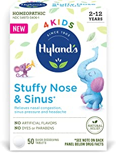 Hyland's 4 Kids Stuffy Nose & Sinus, Cold and Allergy Medicine for Children Ages 2+, Headache Relief and Nasal Decongestant, 50 Tablets