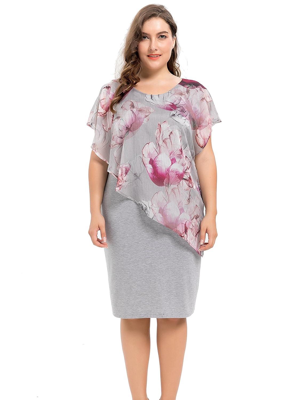 7df2377ae4f Chicwe Women s Designed Chiffon Layered Viscose Stretch Plus Size Dress  Violet Multi 2X  Amazon.ca  Clothing   Accessories