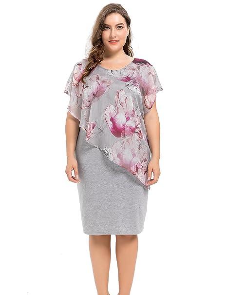be8e082f338 Chicwe Women s Designed Chiffon Layered Viscose Stretch Plus Size Dress  Violet Multi 2X