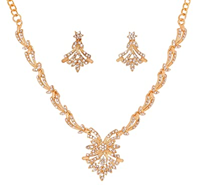 Buy Touchstone Modern Style With Austrian Diamond Necklace Set For