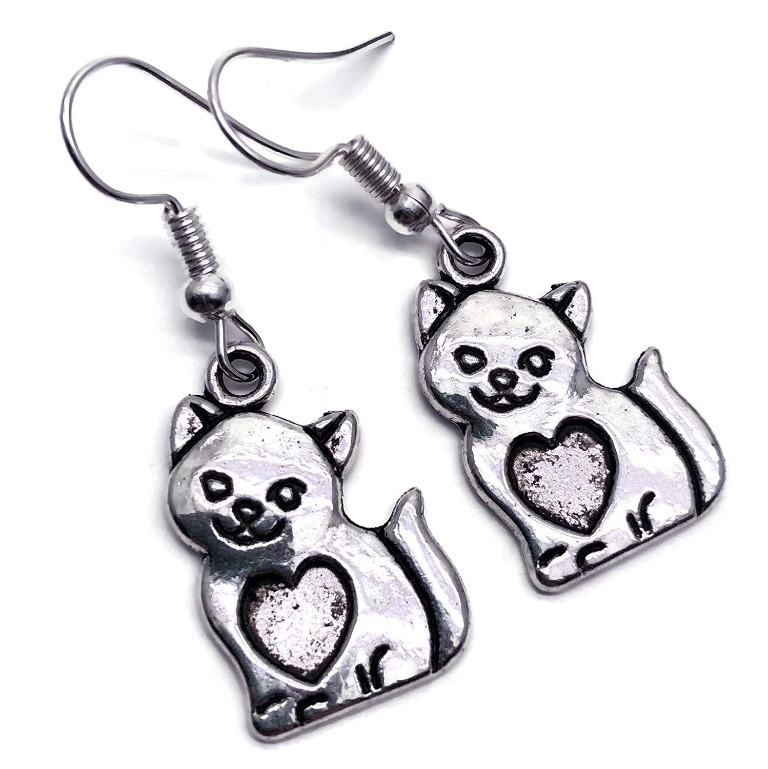Curly Tail Kitty Cat Charm Earrings Tibetan Silver Charms on Nickel Free Hooks