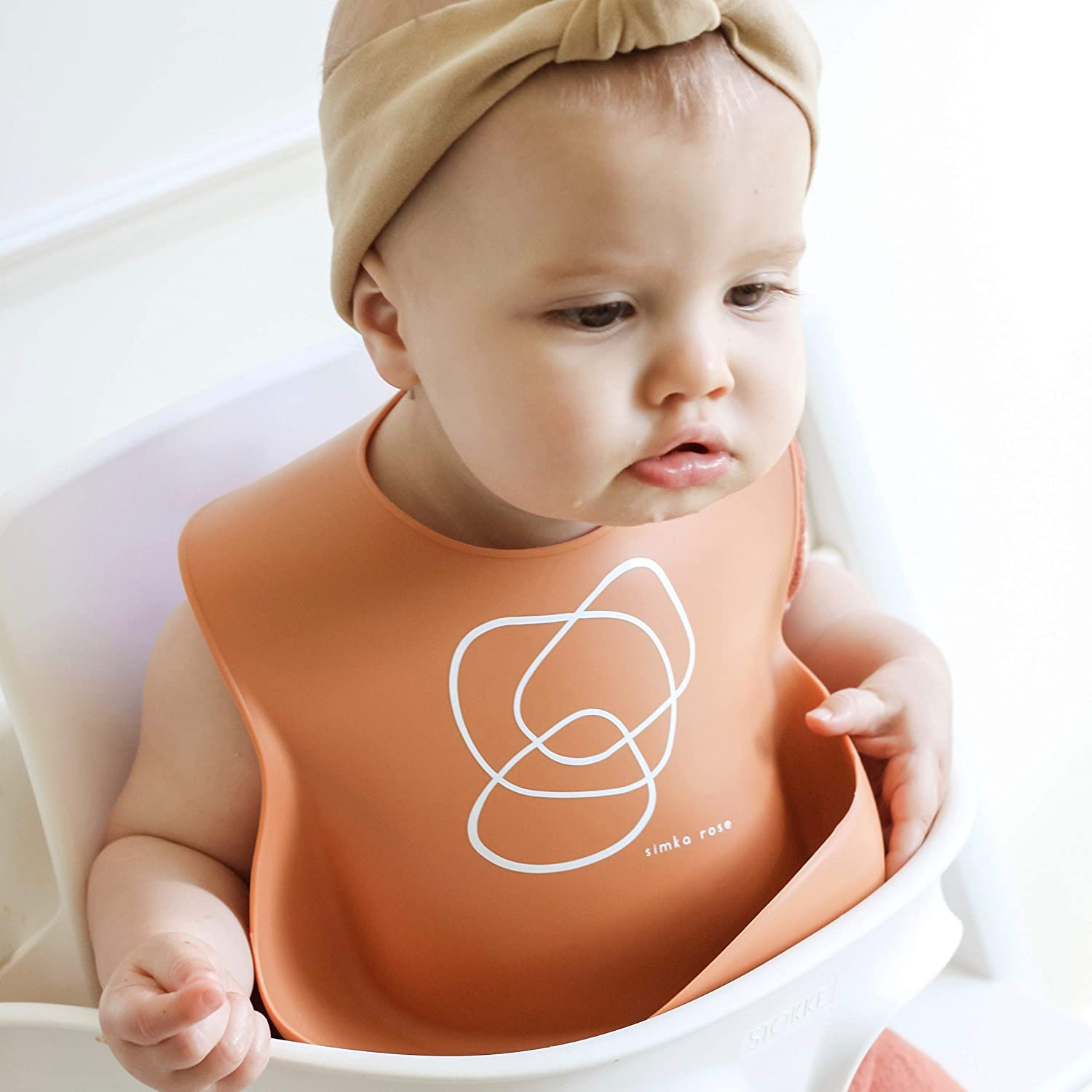 Waterproof Baby Bibs for Girls and Boys Excellent Baby Shower Gift Perfect for Babies and Toddlers Set of 2 Navy//Lime Simka Rose Silicone Bib Easy to Clean Feeding Bibs