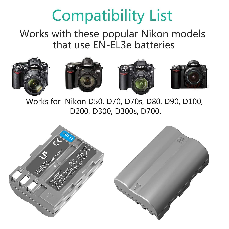EN-EL3e recargable y cargador para Nikon | funciona con ...