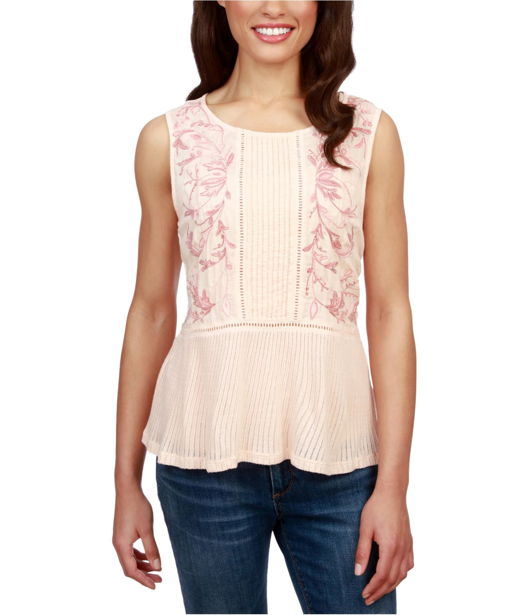 Lucky Brand Women's Embroidered Ladder-Trim Sleeveless Top, Pale Peach (L)