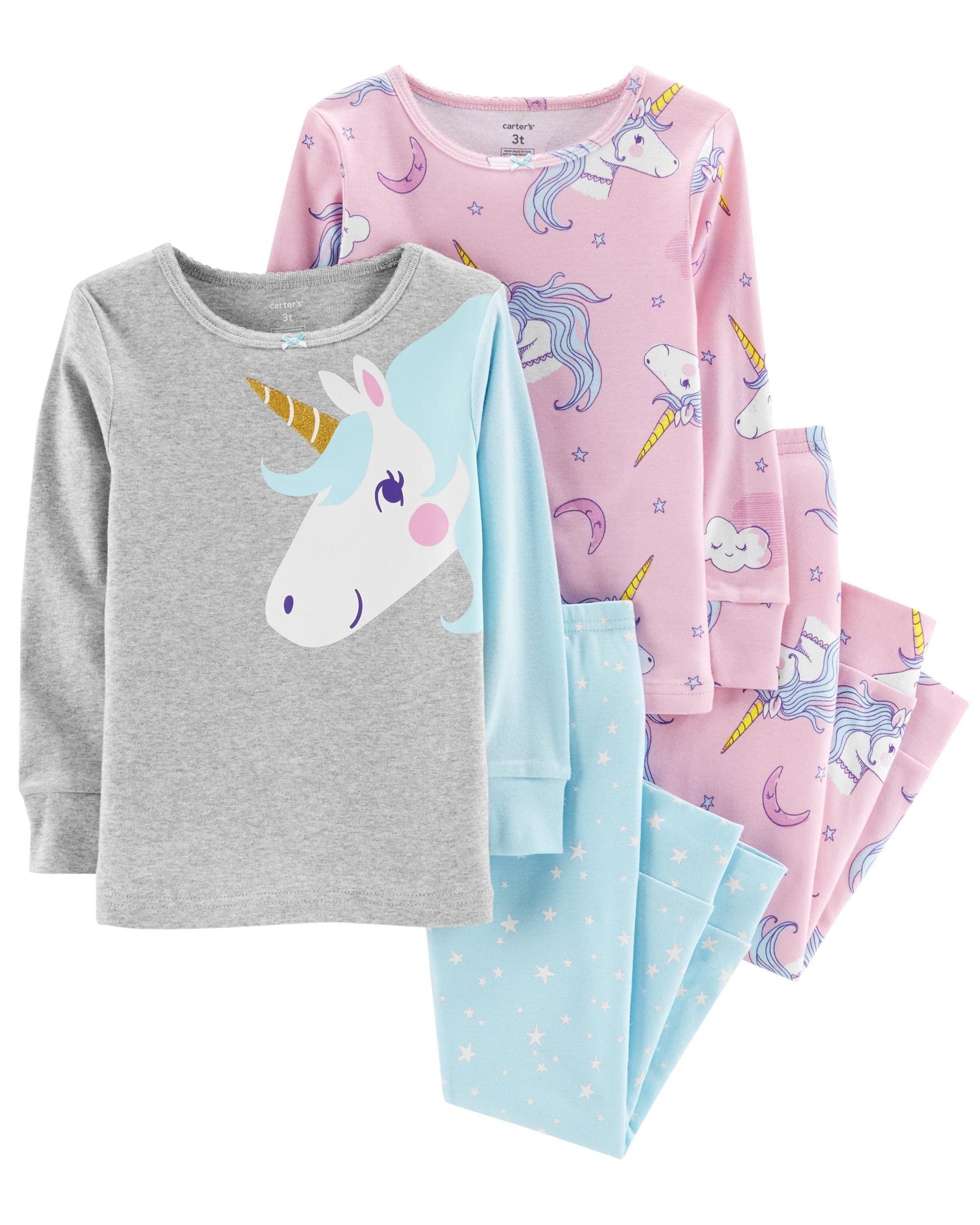 Carter's Girl's 4-Piece Snug Fit Cotton PJ Set, Unicorn, 5T