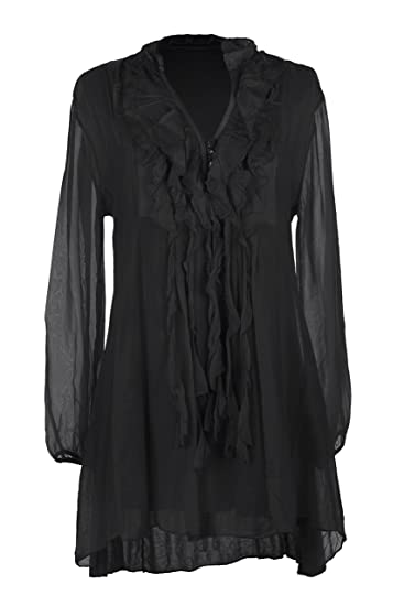 50a5b33c TEXTURE Ladies Women Italian Lagenlook Long Sleeve 3 Button Frill Tassel V  Neck Silk Tunic Top Blouse One Size (Black, One Size): Amazon.co.uk:  Clothing