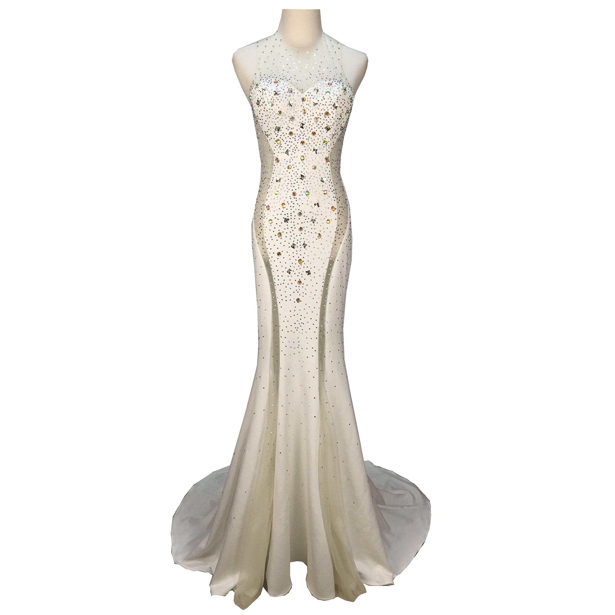 Gypsophila Women's Long Fitted Beading Sleeveless Mermaid Evening Gown Dress (4, White)