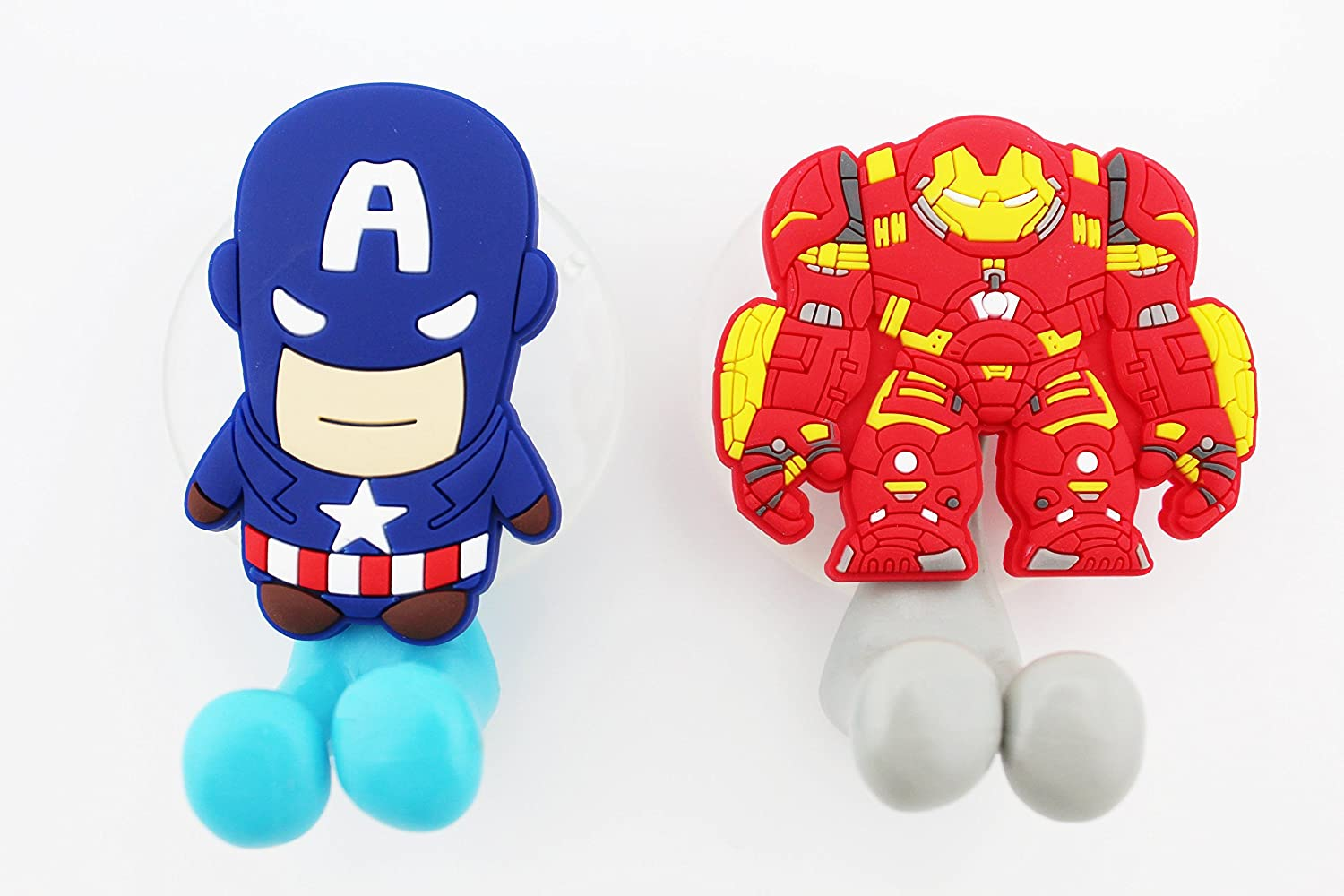 FINEX 2 pcs Set Marvel Avengers Captain America & Ironman Toothbrush Holders with Suction Cup for Wall in Bathroom at Home