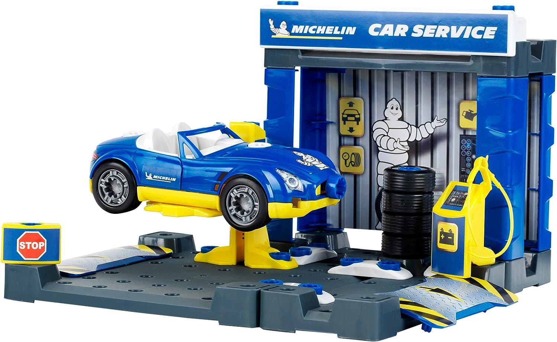 Theo Klein 3408 Estación Michelin Service con Coche I Edificio y Coche con Sistema de atornillado Desmontable I Incluye Destornillador y Mucho más