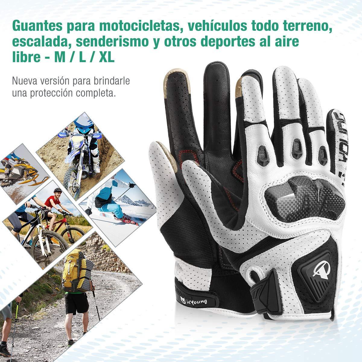 isYoung Guantes de Ciclismo, Guantes para Bicicleta de Pantalla Táctil para Mujer y Hombre Ajustable Invierno/Verano para Conducción Ciclismo Alpinismo Moto Deportivos, Camping, Trabajo(L/Blanco)