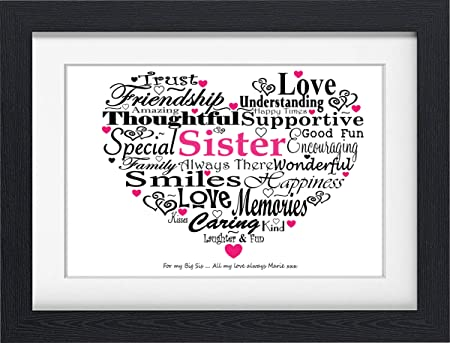 PERSONALISED SISTER BIRTHDAY PRESENT TYPOGRAPHY WORD PRINT (FRAMED ...