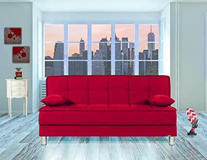 Amazon.com: Casamode Smart Fit Sofa Bed Red Chenille ...