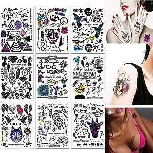 SZSMART 9 Hoja Tatuajes Temporales Tattoo Cuerpo Pegatinas Moda ...