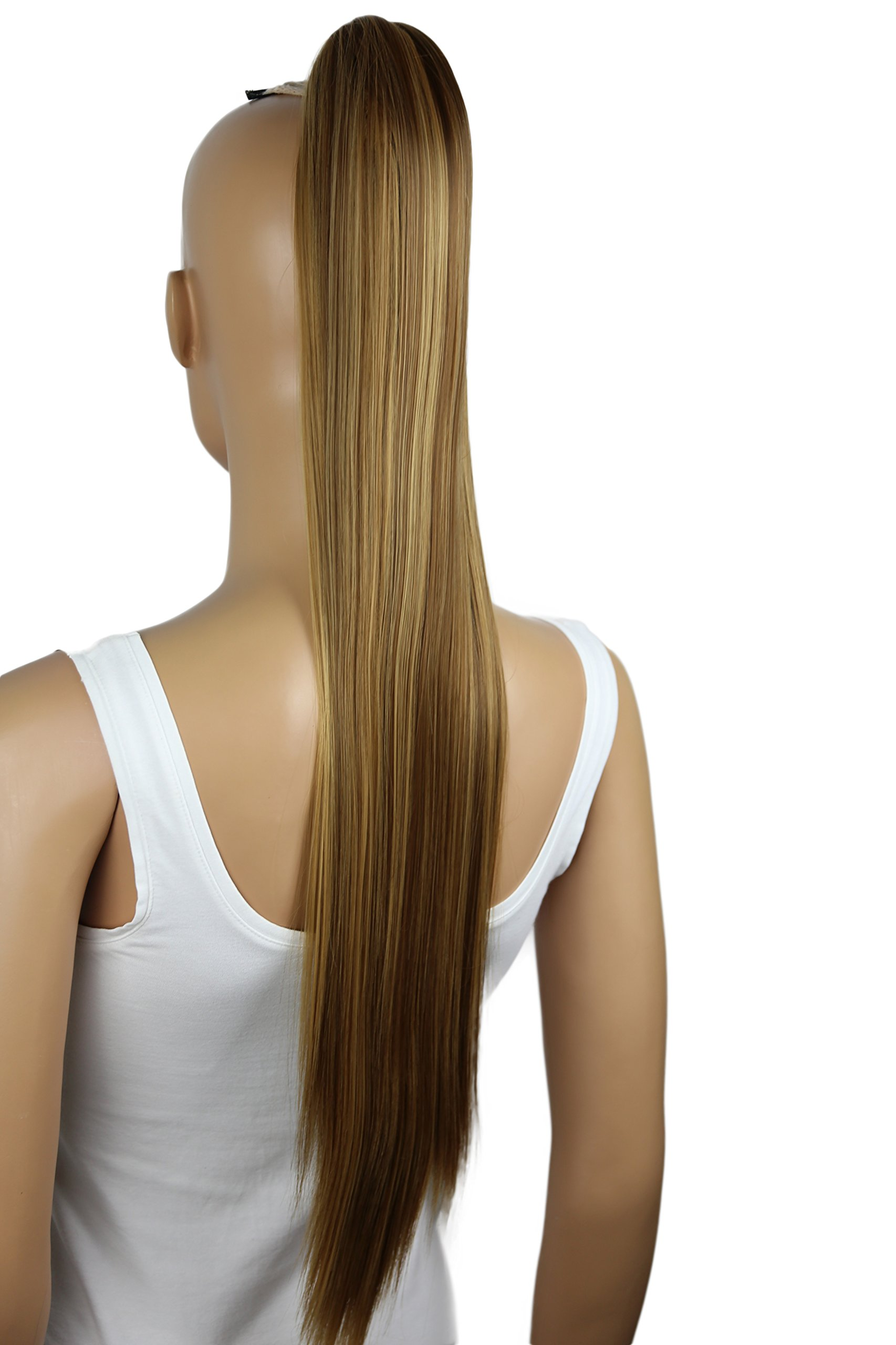 PRETTYSHOP Hairpiece Ponytail Clip on Extension Long hair smooth Heat-Resisting 27'' brown blond mix # 6H27 H165 by Prettyshop Hairpiece-Ponytail (Image #3)