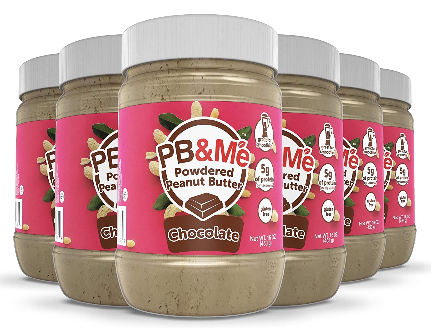 PB&Me Powdered Peanut Spread, Keto Snack, Gluten Free, Plant Protein, 16 Ounce (Chocolate, Pack of 6)