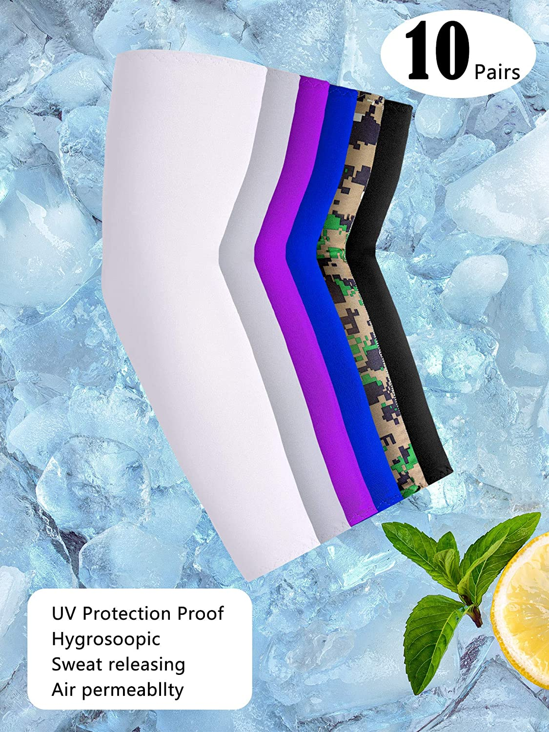 White, Grey, Purple, Blue, Camo, Black 10 Pairs UV Protection Cooling Arm Sleeves Anti-Slip Sun Protection Arm Sleeves Ice Silk Arm Covers