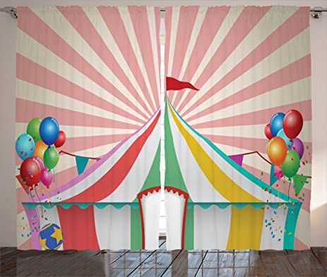 Circus Decor Curtains by Ambesonne Old Style Vintage Circus Tent with Balloons Carnival Celebration Performance & Amazon.com: Circus Decor Curtains by Ambesonne Old Style Vintage ...