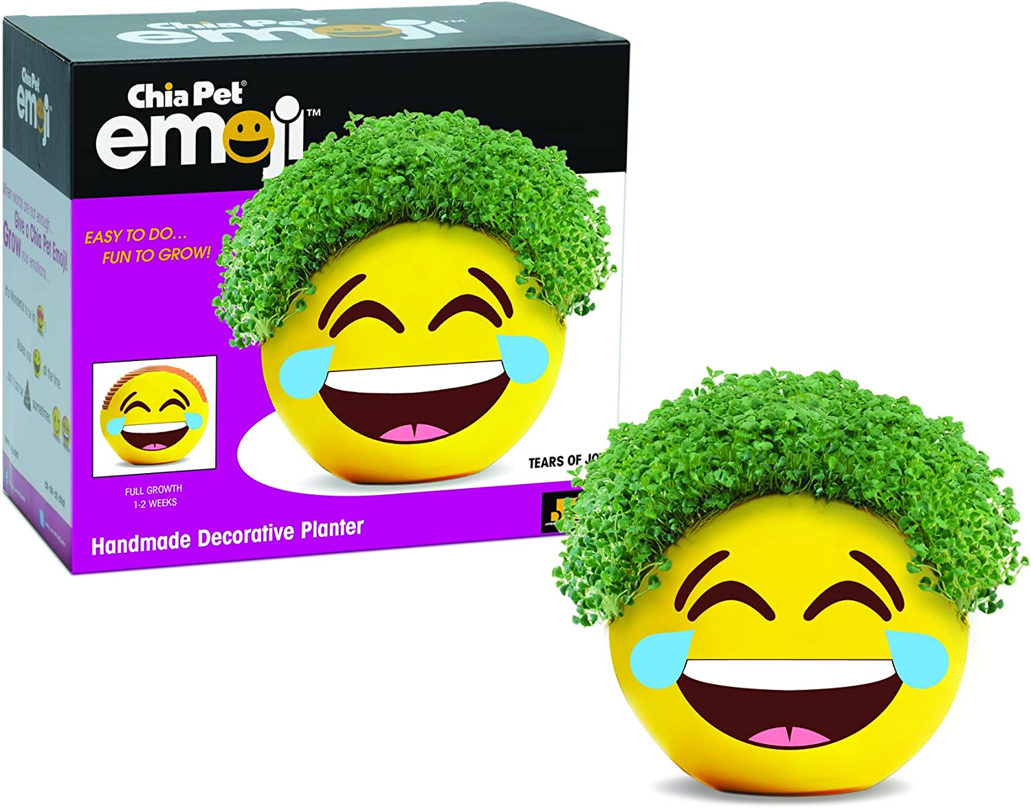 Chia Pet Emoji Tears of Joy, Decorative Pottery Planter, Easy to Do and Fun to Grow, Novelty Gift, Perfect for Any Occasion