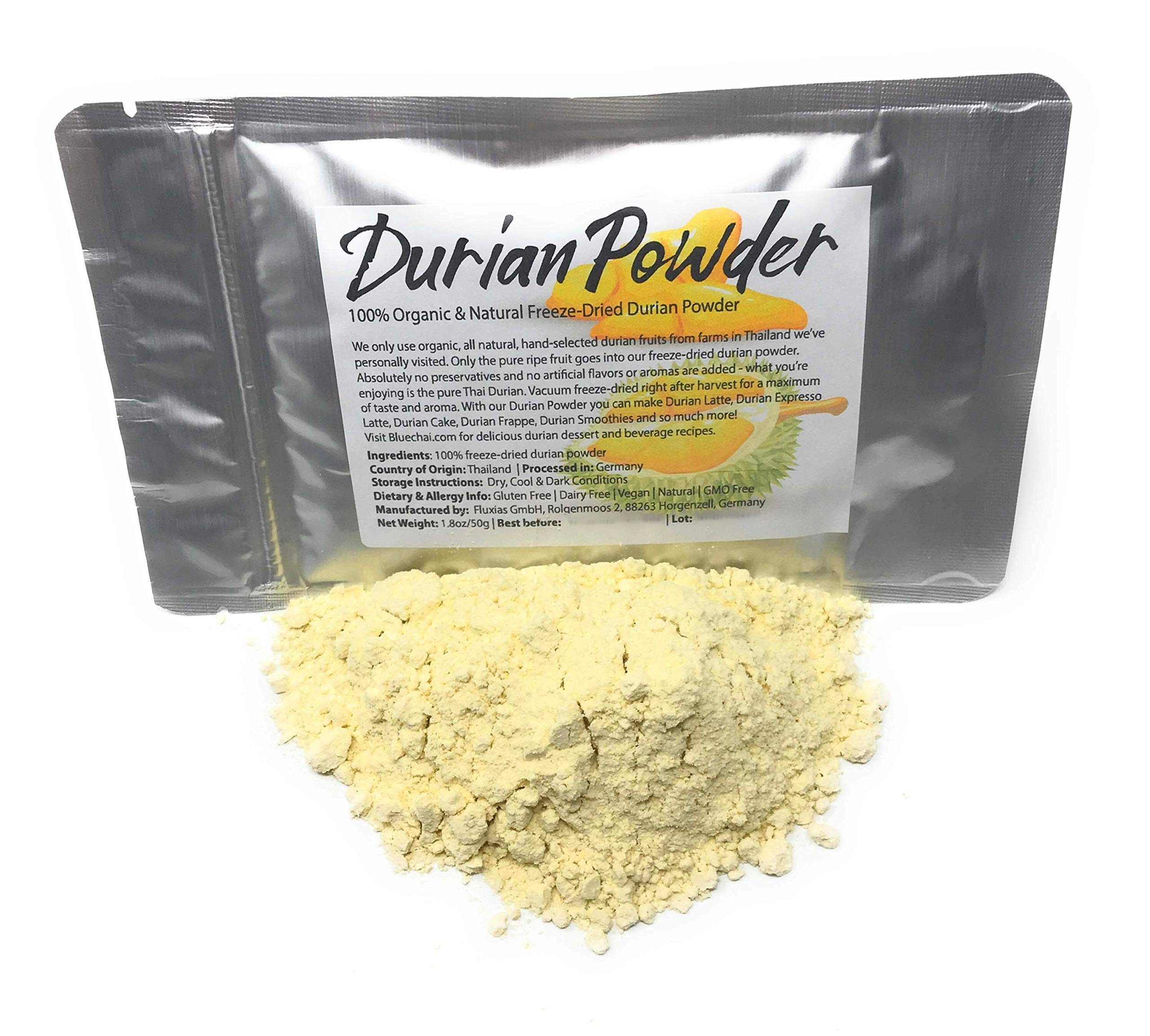Durian Powder made from real, 100% pure Durian Fruit Pulp - Organic & Natural Freeze-Dried Durian Powder - Perfect for Beverages, Cakes and Culinary Delights, Grade AAA | 1.8oz/50g