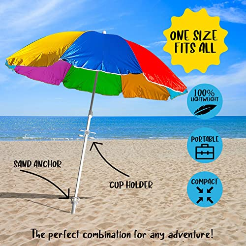Pegasxs Beach Umbrella Sand Anchor- Cup Holder AS Bonus Item- Windproof Beach Umbrella Cup Holder- ONE Size FITS All