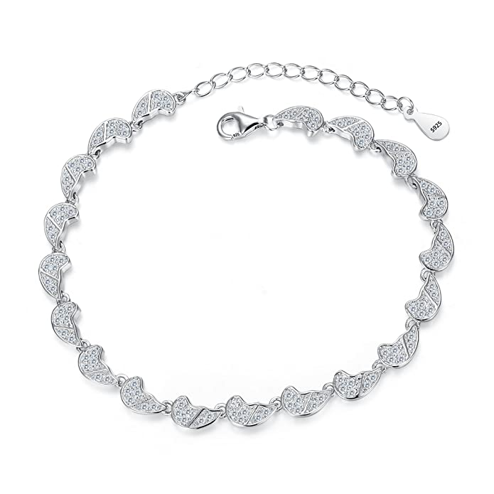 f3186bbd5436 Amazon.com  EVER FAITH 925 Sterling Silver CZ Gorgeous Angel Wings Wedding  Bracelet Chain Clear  Jewelry