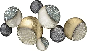 WHW Whole House Worlds Modernist Floating Circles, Abstract Metal Wall Art, Artisan Crafted, Golden Gilt, Black, White and Rustic Gray, Pewter, Silver, Painted Iron, 35. 75 Inches