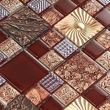 Wand Goldfarben Edelstahl Braun Harz Mosaik Fliesen Kamin Wand Blatt