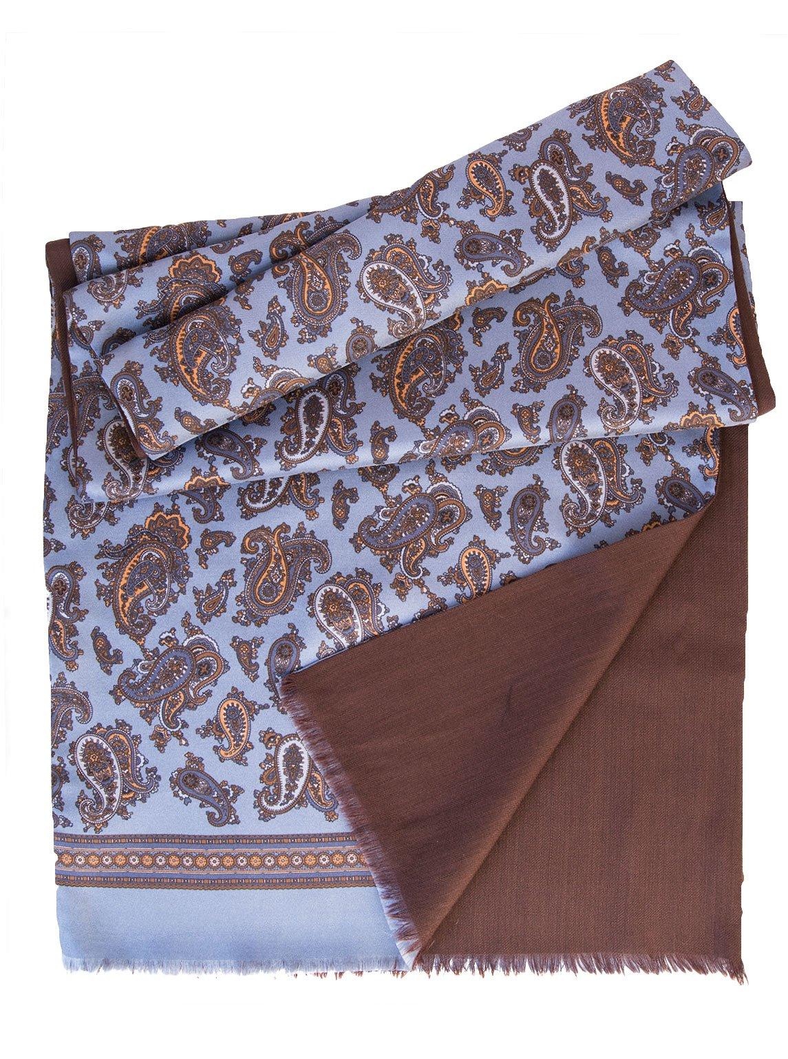 Elizabetta Men's Italian Silk Scarf - Soft Wool Lined - Blue & Brown Paisley by Elizabetta