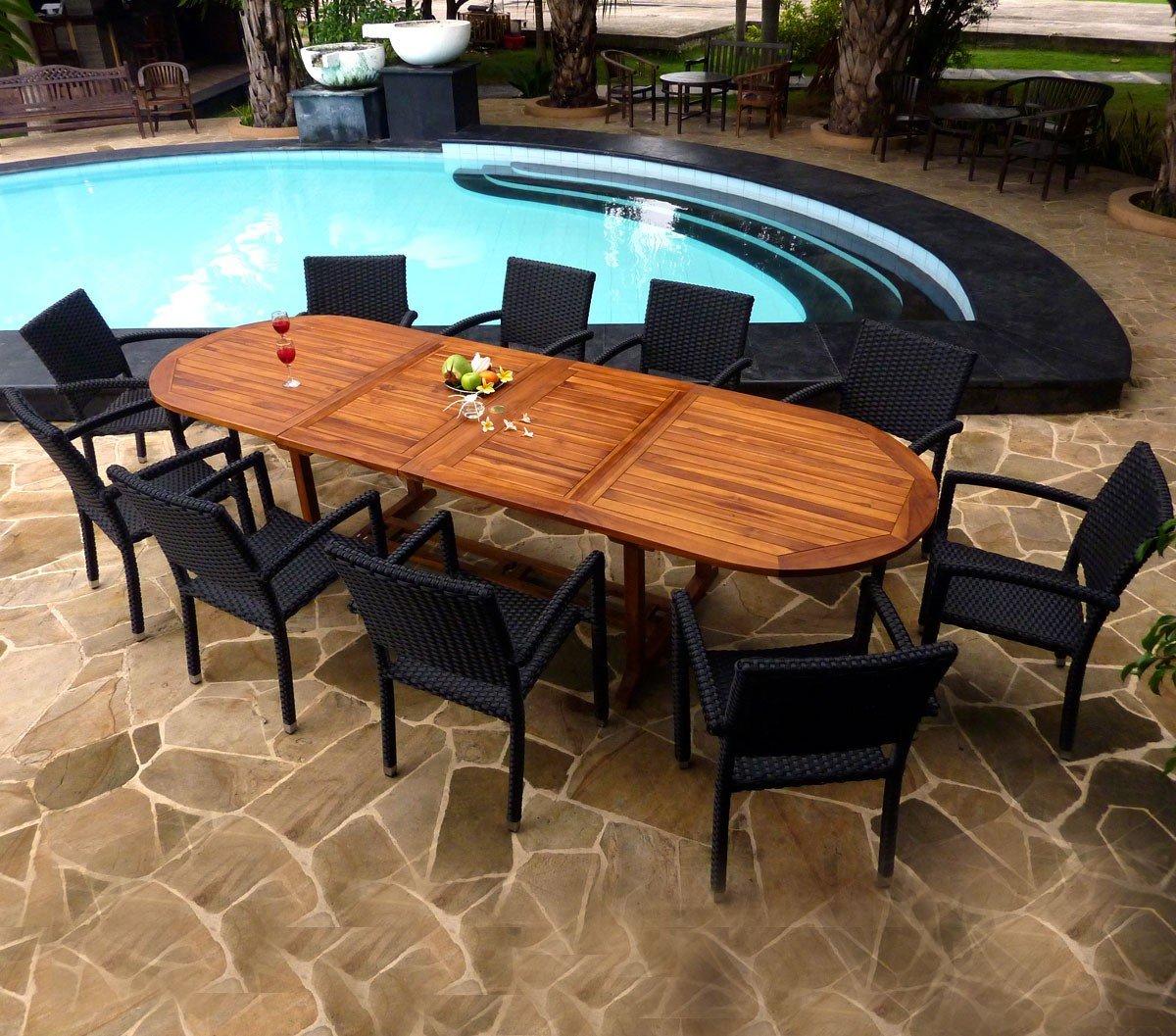 Gartenmöbel, Teak geölt und 10Sessel aus Kunstharz Poly Rattan–Tisch 200–250–300cm