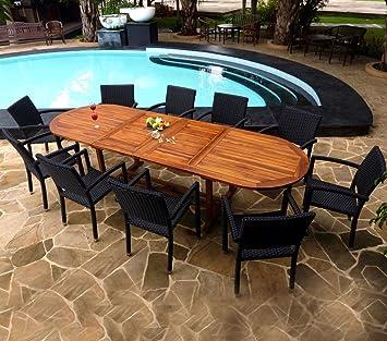 Salón de jardín de Teca, barnizada y 10 sillones en Resina ...
