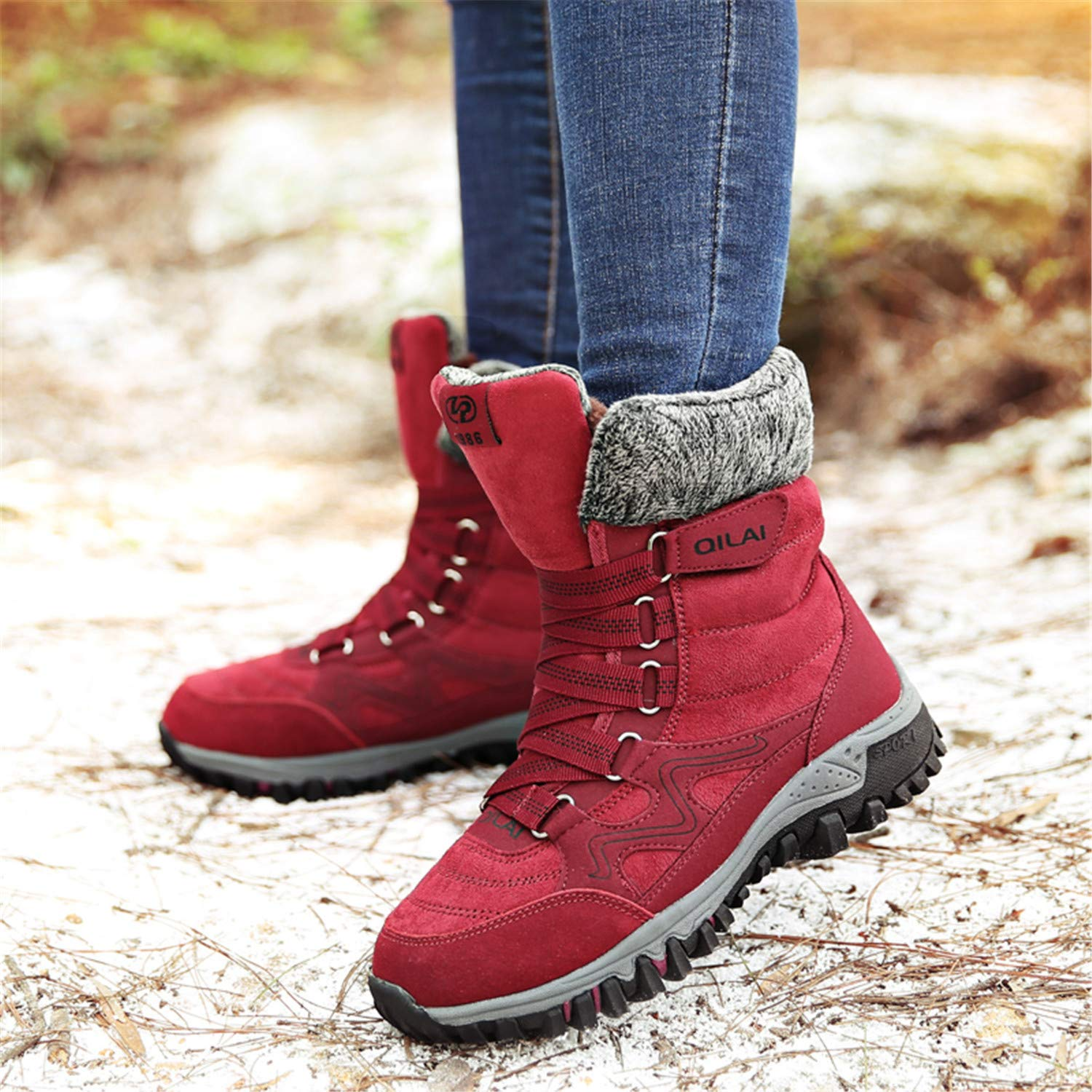 tqgold Womens Waterproof Snow Boots High Top Slip On Ankle Booties Velcro Warm Fur-Lined Winter Boots
