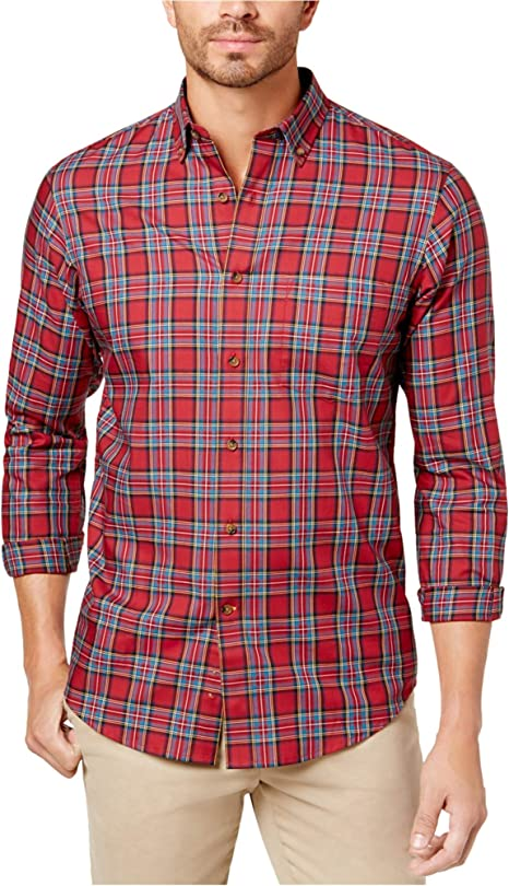 Club Room Mens Plaid Ls Button Up Shirt