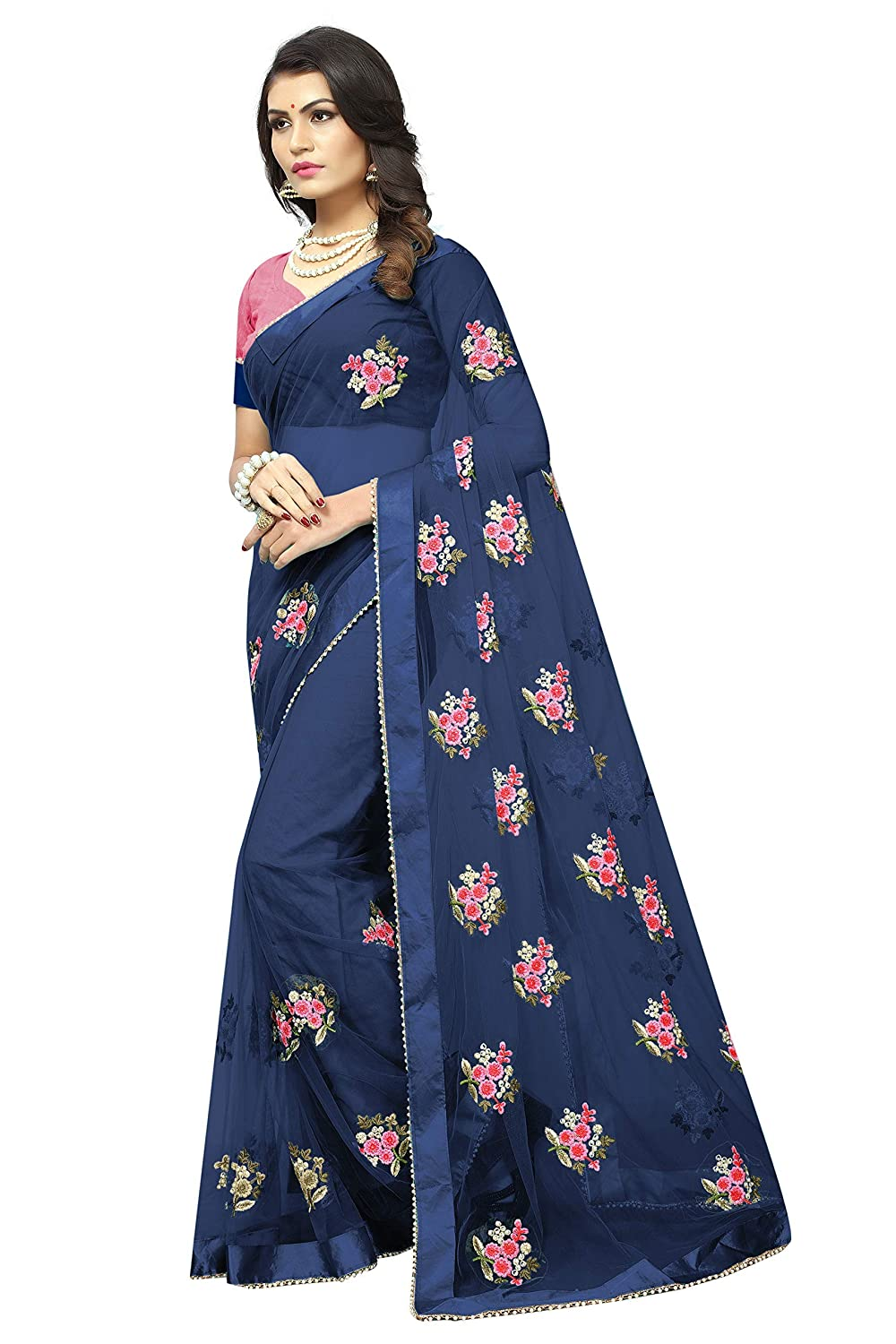 cd7abdfd28 SilverStar Women's Embroidery Work and Moti Lace Border Full Net Saree with  Blouse Piese (Blue): Amazon.in: Clothing & Accessories