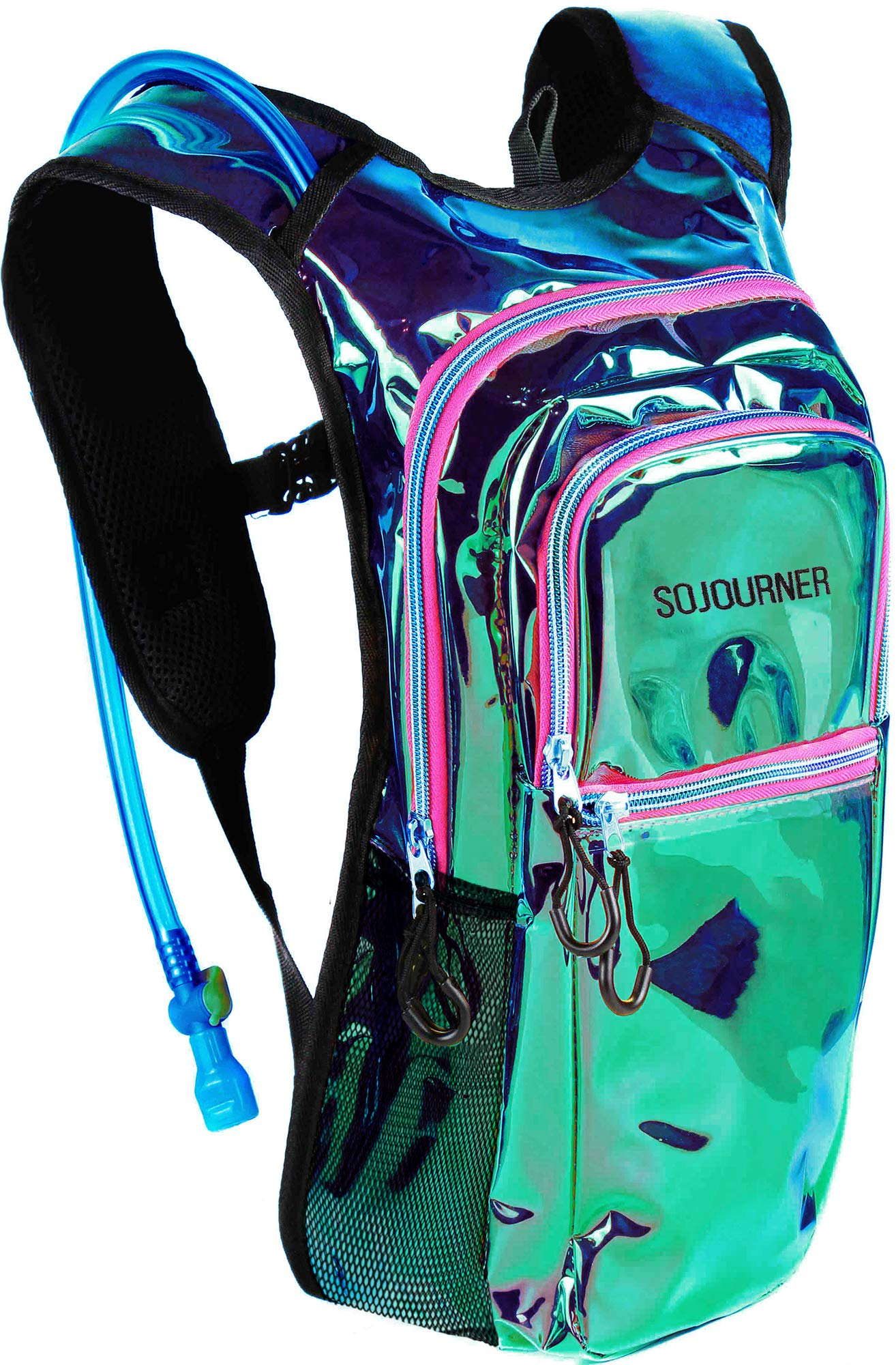Sojourner Rave Hydration Pack Backpack - 2L Water Bladder Included for Festivals, Raves, Hiking, Biking, Climbing, Running and More (Medium) (Laser Holographic - Purple)