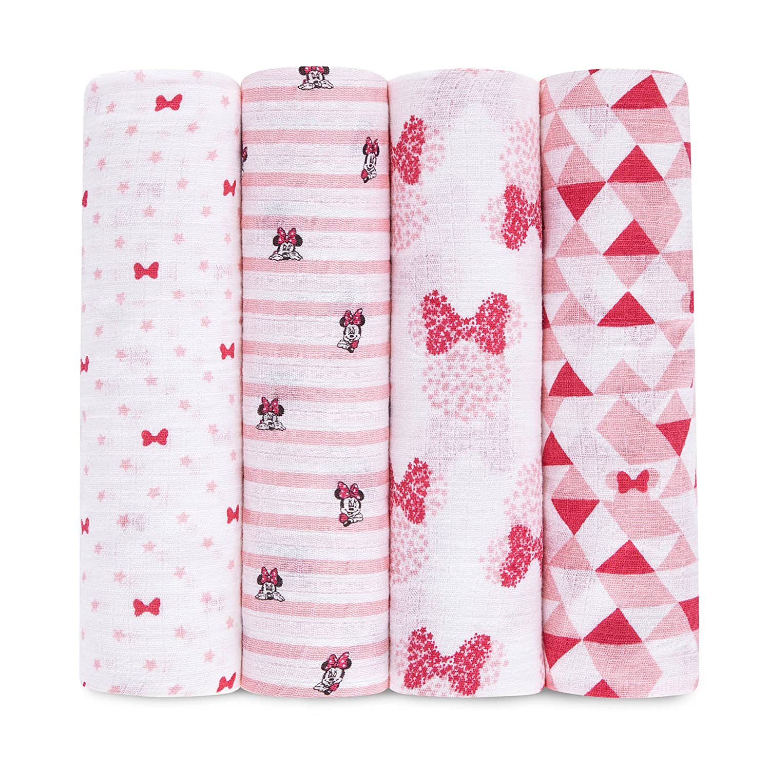 aden by aden + anais Disney Baby swaddle, 100% cotton muslin, 112cm X 112cm, 4 pack, graphic Minnie ADISN100G