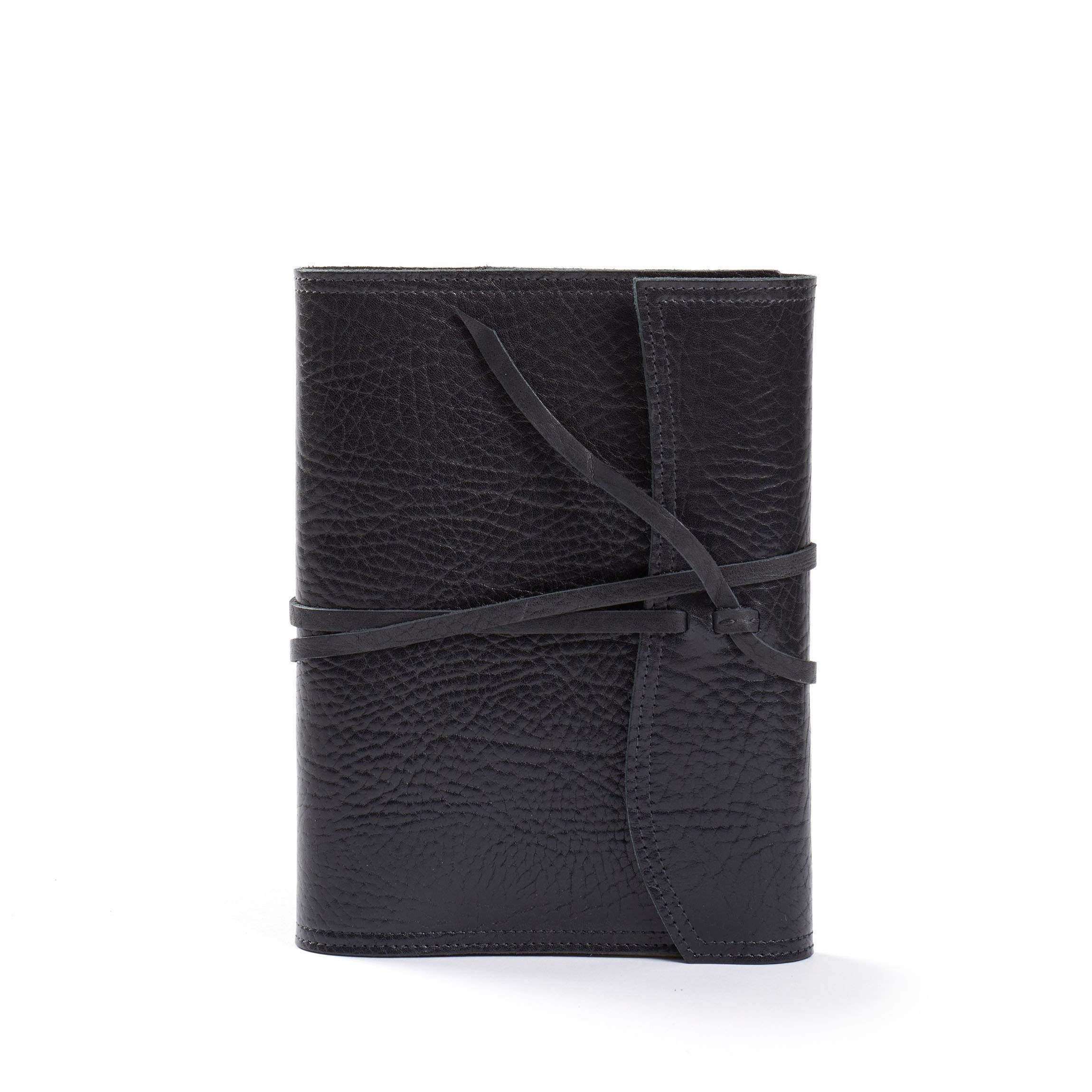 Medium Wrap Journal - Full Grain Italian Leather Leather - Ebony (Black)
