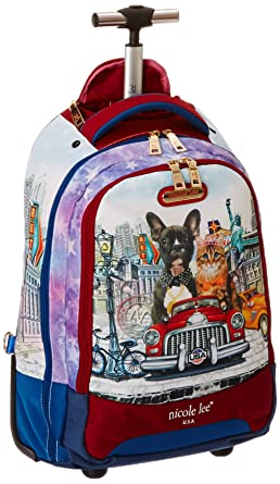 Amazon.com | Nicole Lee Leona 21 Inch Rolling Backpack with Laptop ...
