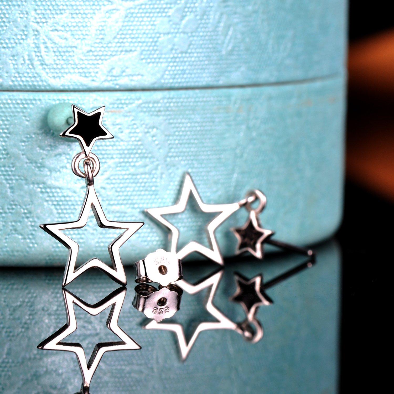 Yumilok Jewelry 925 Sterling Silver Black Hollow Star Stud and Ear Dangle Hypoallergenic Earring for Women//Ladies//Girls