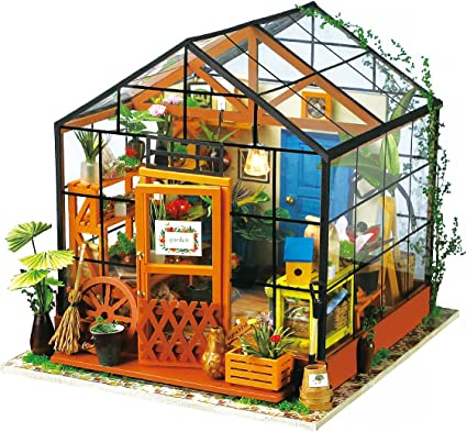 ROBOTIME DIY Living Dollhouse Wooden Miniature with Furniture LED Creative Gifts
