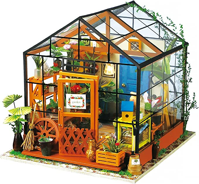 Robotime Hazlo tú mismo niños muñeca casa muebles de LED Hecho a Mano Kits Tienda Casa De Muñecas Regalo